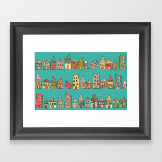 City {Housylands - teal} Framed Art Print