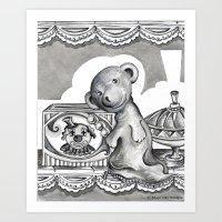 teddy bear Art Prints featuring Teddy by Alison Day Designs