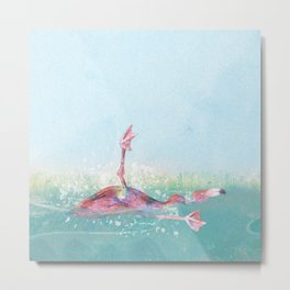 Clumsy Flamingo Metal Print