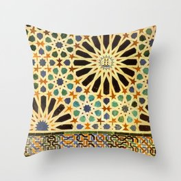 """""""Mexuar room"""". Details in The Alhambra Palace.  Throw Pillow"""