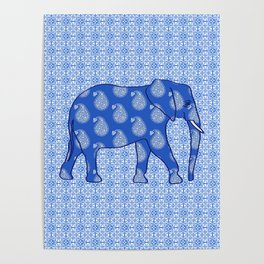 Paisley elephant, Cobalt Blue and White Poster