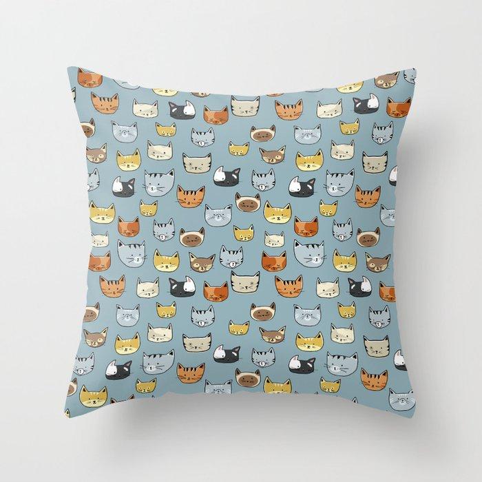 Cat Face Doodle Pattern Throw Pillow