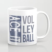 volleyball Mugs featuring Ace It Volleyball (blue) by raineon