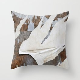 rusty orange wall with poster shreds Throw Pillow