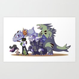 Pokémon trainer and team Art Print