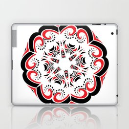 Floral Black and Red Round Ornament Laptop & iPad Skin