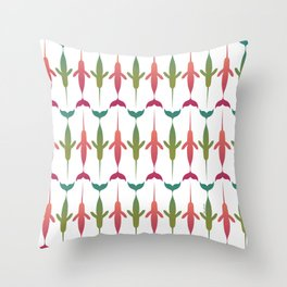 Narwhale Pattern in Blush, Teal and Green Pantone Colors Throw Pillow