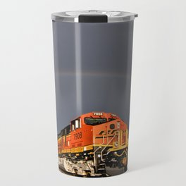 BNSF Train with Rainbow at Henrietta Missouri Travel Mug