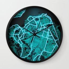Kinshasa, Democratic Republic of the Congo, Blue, White, Neon, Glow, City, Map Wall Clock