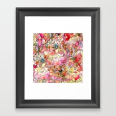 Summer Flowers | Colorful Watercolor Floral Pattern Abstract Sketch Framed Art Print