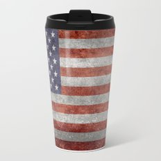America flag with vintage retro textures Travel Mug