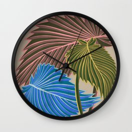 Vivid Palms I Wall Clock
