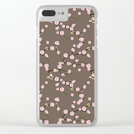 Pink Cherry Blossom Branches on Taupe Clear iPhone Case