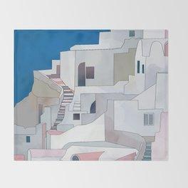 greece houses santorini Throw Blanket