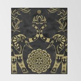 Lotus Flower Elephants Mandala Gold & Black Throw Blanket