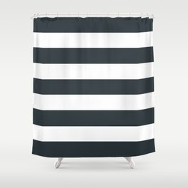 Gunmetal - solid color - white stripes pattern Shower Curtain