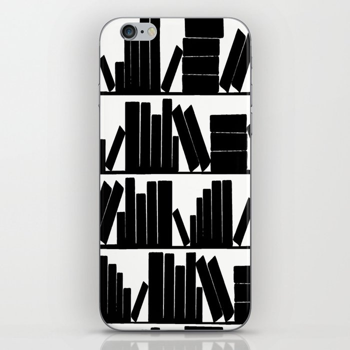 Library Book Shelves, black and white iPhone Skin