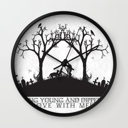 Edgar Allan Poe Black and White Illustrated Quote  Wall Clock