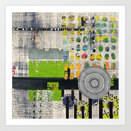 Lime & Navy Abstract Art Collage Art Print