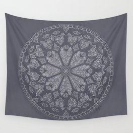 Ultimate Gray Rose Window Wall Tapestry