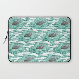 Mama + Baby Gray Whale in Ocean Clouds Laptop Sleeve