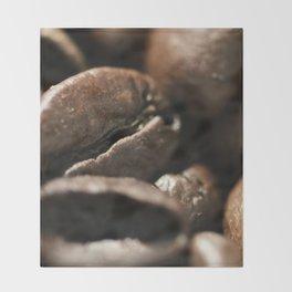 Coffee beans macro photo, fine art, still life, interior decoration, for bar & restaurant, Pub sign Throw Blanket
