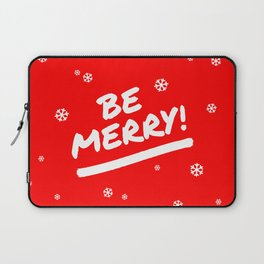 Bright Red Be Merry Christmas Snowflakes Laptop Sleeve