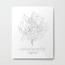 Massachusetts Sketch Metal Print