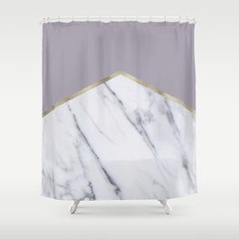 Smokey lilac - gold geometric marble Shower Curtain