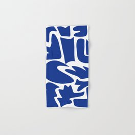 Blue shapes on white background Hand & Bath Towel