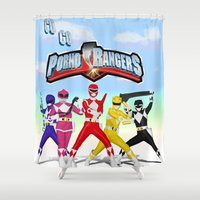power rangers Shower Curtains featuring porno rangers by Anthrackie