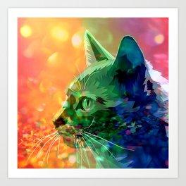 Rainbow-Colored Bejeweled Cat Art Print