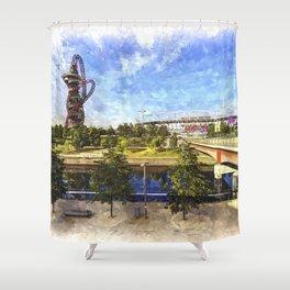 West Ham Olympic Stadium And The Arcelormittal Orbit Art Shower Curtain