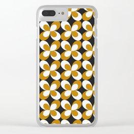 Golden black white retro floral Clear iPhone Case