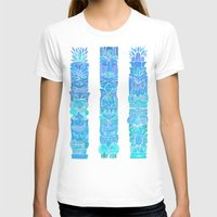tiki T-shirts featuring Tiki Totems – Turquoise Palette by Cat Coquillette