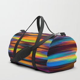 vintage psychedelic geometric abstract pattern in orange brown blue yellow Duffle Bag