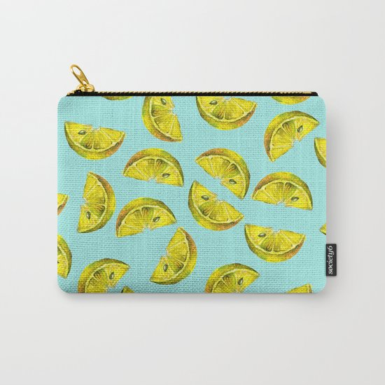 Lemon Slices Pattern Turquoise Carry-All Pouch