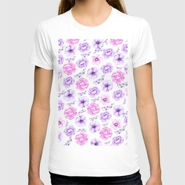 Modern hand painted purple pink watercolor floral pattern T-shirt