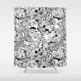 Christmas Doodles Funny and Cute Black and White Characters Shower Curtain