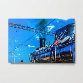 Retro Steam Locomotive And Black Smoke. The Number One Is Ready To Depart Metal Print
