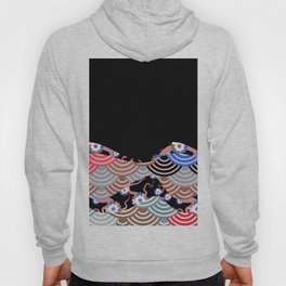 Nature background with japanese sakura flower Cherry, black wave circle pattern Hoody