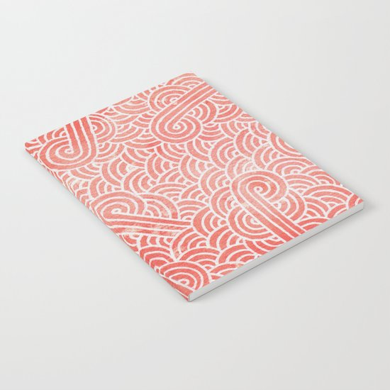 Peach echo and white swirls doodles Notebook