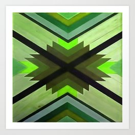 Navaho Vibes Geometric Pattern - Black Olive Lime Art Print