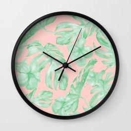 Island Life Seashell Pink + Light Green Wall Clock