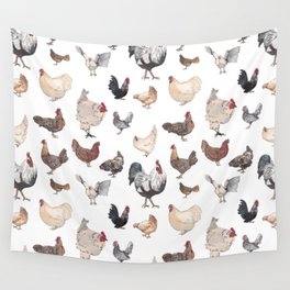 Chicken Happy (white) Wall Tapestry