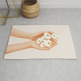 Hands Holding Flowers Rug