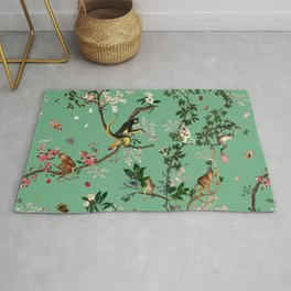 Monkey World Green Rug