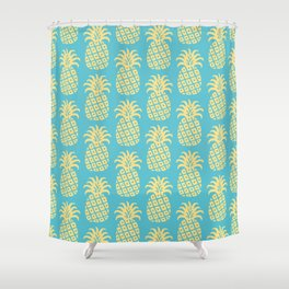 Mid Century Modern Pineapple Pattern Blue and Yellow Shower Curtain