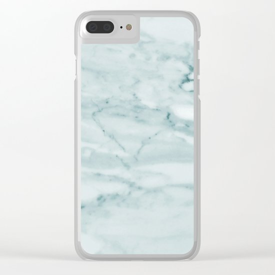 Marble Pale Teal Sea Green Marble Clear iPhone Case