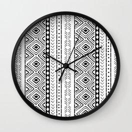 White Mudcloth Wall Clock